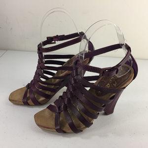 Sam Edelman Plum Purple strappy Wedge 5 sandals